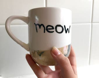 Meow Coffee Mug| Cat Mug, Marbled Mug, Hand Painted Mug