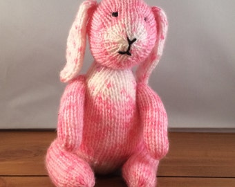 Bunny, knitted bunny rabbit, knitted rabbit, pink bunny, UK seller