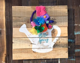 Ready to ship /Spring Flower pot /One of a kind / Spring sign