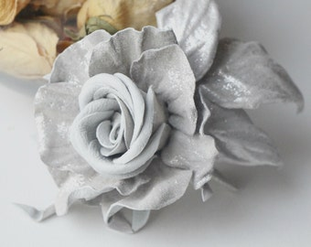 Leather Rose Flower Brooch , Leather flower, leather rose flower, gift for her, wedding anniversary, Mothers Day gift, leather brooch