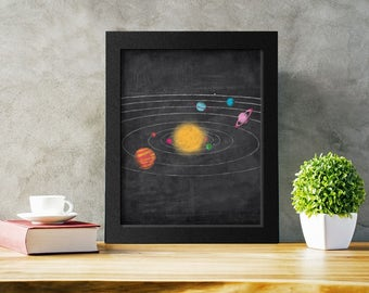 Solar System Printable, Space Wall Art, Outer Space Kids Decor, Planet Print, Instant Download
