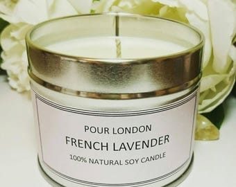 Free UK Shipping! Pour London French Lavender Soy wax scented candle