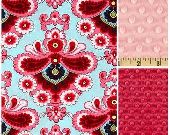 Baby Girl Blanket,Baby Blanket,Pink Baby Blanket,Toddler Girl Blanket,Modern Baby Blanket,Amy Butler,Lap Throw,Minky Blanket,Baby girl gift