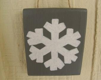 Snowflake Wood Wall Sign - Small Shelf Decoration - Winter Wall Hanging Ornament