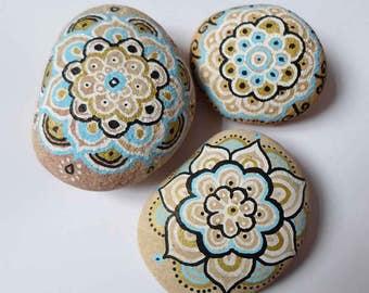 Hand Painted Stone art, Mandala Rock Pebble Art, Yoga Boho Mandala room decor, Birthday Yoga Boho gift, Cheap Gift Idea, Painted Sea Stones