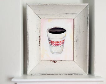 Dunkin Donuts 8x10 Original Oil and Ink Transfer Painting Gift for Coffee Lover Unique Kitchen Decor Dunkin Donuts Kitchen Wall Art