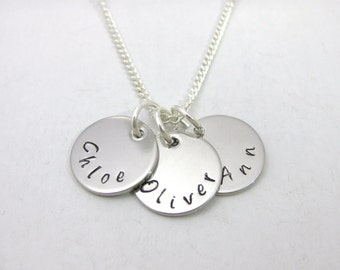 Personalised Hand Stamped 3, 4 or 5 Names Necklace  Silver Plated Chain Family Gift UK Seller
