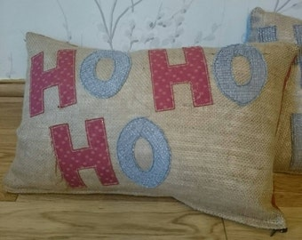 Christmas Ho Ho Ho red gold and hessian cushion with feather inner pillow