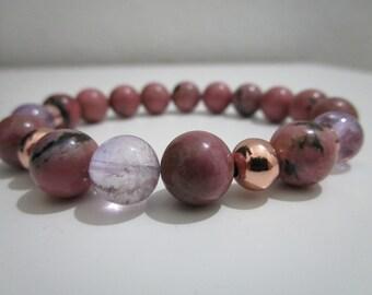 Ametrine bracelet, Rhodonite bracelet, Natural stone bracelet, Womens jewelry, Gift for women, Womens jewelry, Jewelry, Gemstone bracelet
