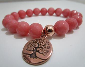 Pink jade, pink Jade bracelet, pendant tree of life, bracelets, bracelets of semi-precious stones, gift for women, Womens bracelets