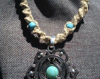 Gemstone chakra pendant on hemp necklace with beads