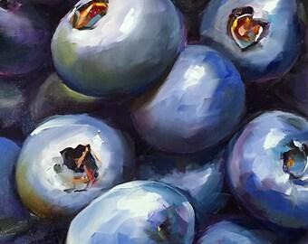 indigo blues // blueberries // blueberry art // blueberry painting // kitchen art // kitchen painting // fruit art // fruit painting