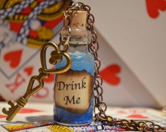 Alice in Wonderland jewelry Drink Me bottle necklace or keychain