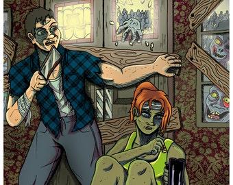 Zombie Defence A4 Art Print