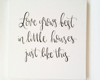 Love Grows Best In Little Houses Just Like This - Canvas