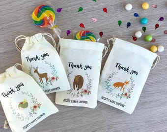 Woodland Cotton Party Favor Bags for Woodland Creatures Baby Shower & Forest Animals Birthday, Custom Muslin Drawstring Bags for Small Treat