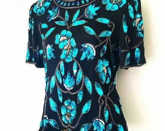 80's Stenay Silk Sequin Beaded Black and Turquoise Party Top