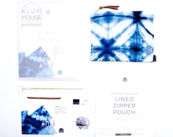 Zipper Pouch Sewing Kit, Shibori Kit, Hand Dyed, Easy Sewing Project, Sewing for Beginners, Craft Kit, DIY Kit, DIY Gift