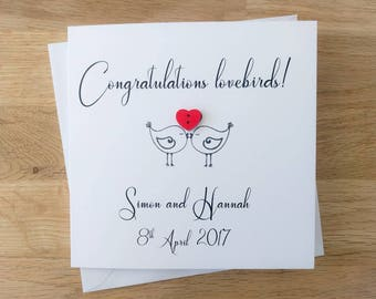 """Handmade personalised """"Congratulations lovebirds"""" wedding card with wooden heart button - engagement card"""