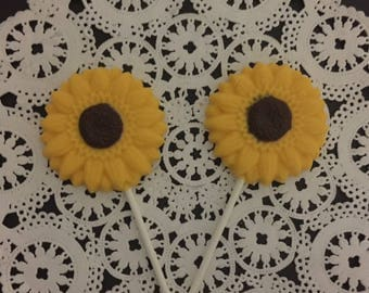 SUNFLOWER Chocolate Lollipops (12 qty) - Wedding Favors/Garden Party/Bridal Shower Favors/Tea Party/Baby Shower/Garden Wedding