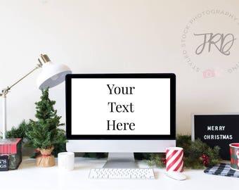 Christmas Desktop Computer Mockup Styled Stock Photo