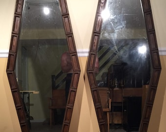 Vintage Pair of Hexagonal Wall Mirrors