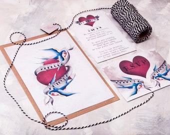 Tattooed Swallows  Wedding Invitation - Invite Suite sample