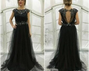 Black wedding dress etsy bohogothic wedding dress black wedding dress open cutout back crystal belt junglespirit Images