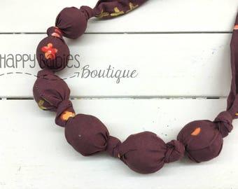 Organic Cotton Nursing Teething Necklace, Plum Pretty