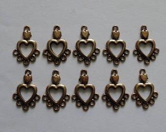 10 Antique Gold 5 Loop Heart Chandelier Earring Findings