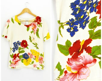 White Floral Sweater Vintage 80s Floral Top | Lightweight Short Sleeve Spring Sweater Blouse | Boho Sweater Shirt Knit Top Sz Med