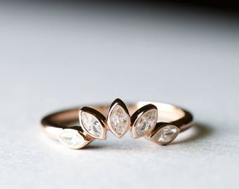 14K Rose Gold Ring Guard, Ring Wraps, Ring Enhancer, Leaf Ring, Tiara Ring, Oval Ring, 925 Sterling Silver, Rose and Choc