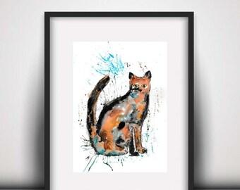 SALE Cat watercolour PRINT, cat, watercolour painting, cat lover gift, watercolour animal print, cat illustration, cat art print,