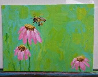 The Honey Bee & Flower - original painting by wilena - Bee Prairie flowers Pollinator