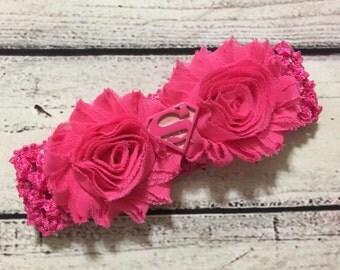Hot Pink Baby Headband ~Baby Headband ~Shabby Flowers Headband ~Super Girl Headband ~Super Girl Hair Bow