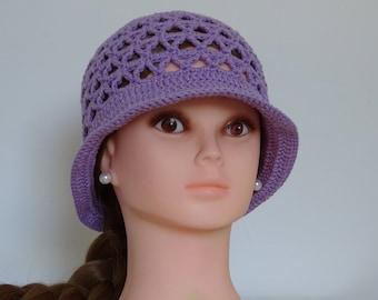 Amethyst Purple Summer Hat Crochet 100% Cotton Handmade