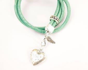 changeable necklace leather cord handmade turquoise #4232