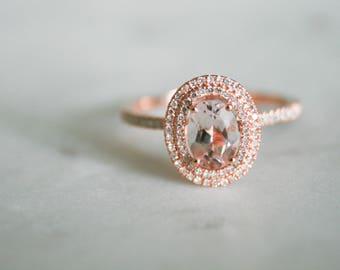 Halo Engagement Ring, Oval Morganite, Morganite Engagement Ring, Morganite Ring, Rose Gold Morganite Ring, Morganite Rose Gold Ring