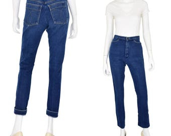 "1970's Vintage Women's 2 26"" High Waist Slim Fit Jeans Handmade Skinny Straight"