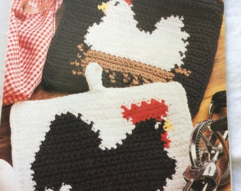 Pdf 1991 vintage crochet chicken and rooster potholder pattern,