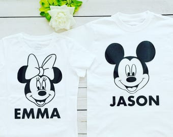 Personalized Minnie Mouse and Mickey Mouse T-shirts, Disney personalized Tshirts, Disney trip Tshirts with any name