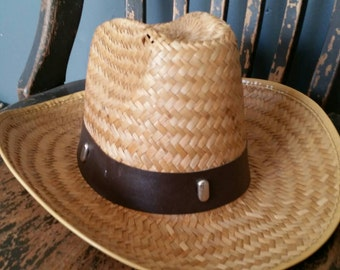 Straw Cowboy Hat/Adult Size Small/Decorative Leather Look Band/Ranchers Hat/Costume Accessory/Childs Size Large Cowboy Hat/Vintage 1990s