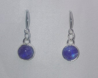 Flashy blue moonstone earrings, blue moonstone earrings, rainbow moonstone earrings, handmade silver earrings, dangle earrings