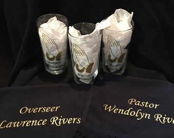 Pastor Deacon First Lady Overseer Minister Evangelist Towel & Drinking Glass Set. Church Towels. Church Drinking Glass. Gift for Pastor.