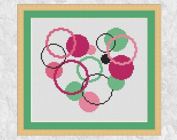 Modern Heart Cross Stitch Pattern, Printable Circles Heart