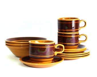 Staffordshire Potteries Kiln Craft Caramel Dinnerware Setting Tableware- Kilncraft Chocolate Brown Stripe Tea Cups Saucers - Made in England