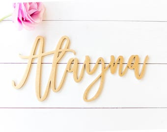 """12"""" wide laser cut name sign / custom script name / gifts for brides / gifts for her / nursery signs / nursery decor / personalized wall art"""