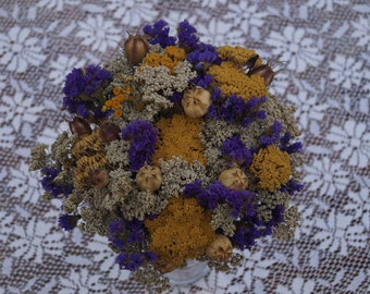 Dried flower bouquet Rustic wedding bouquet  Bridal bouquet Rustic home decor Natural flower decor Dried flower bunch Yellow purple bunch