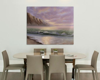 Large Seascape Painting, Fine Art, Landscape, Ocean Waves, Beach Painting, Coastal Art, Original Large Oil Painting on Canvas, Sunrise Glory