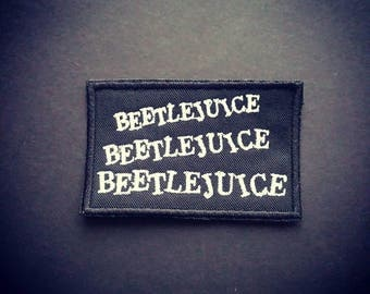 Beetlejuice patch. Sew or iron on this patch. Horror patch. Goth patch. Awesome.